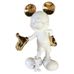 Life-Size Mickey Mouse White / Gold Pop Sculpture, In stock in Los Angeles