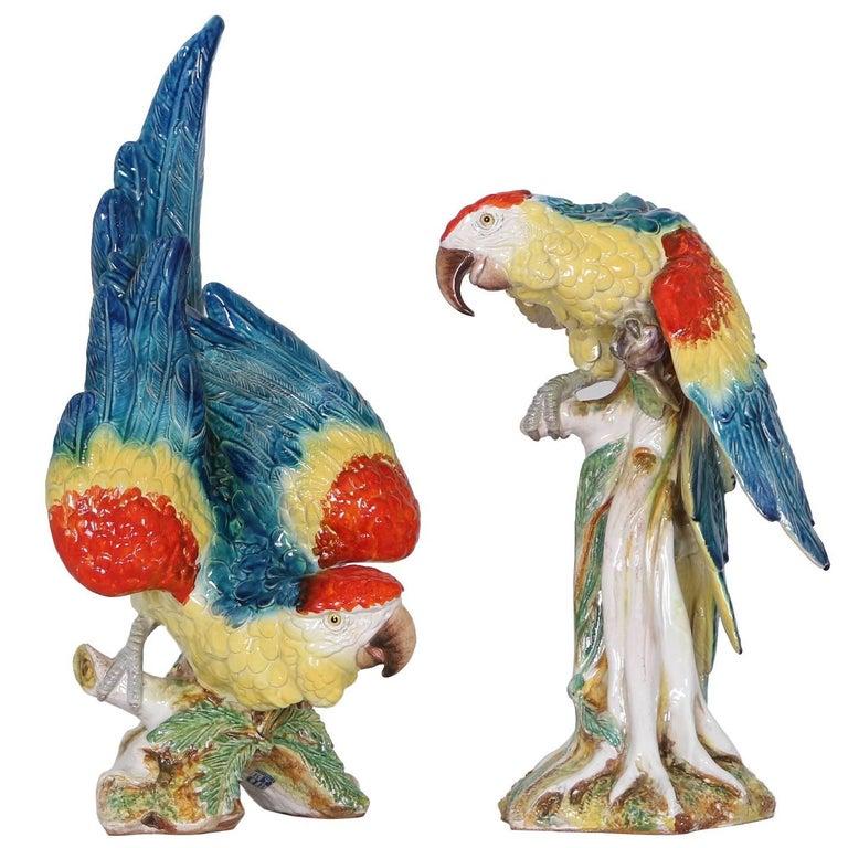 Life-Size Midcentury Italian Majolica Parrots