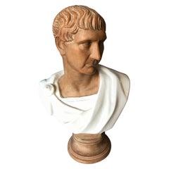 Life Size Mid Century Terra Cotta Bust of a Roman Emperor