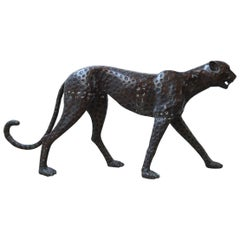 Life Size Midcentury Patinated Bronze Cheetah