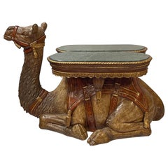 Life-Size Moroccan Inspired Camel Form Side Table with Marble Top