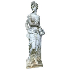Life-Size Neoclassical Greek Goddess of Fall Marble Sculpture Statue with Grapes