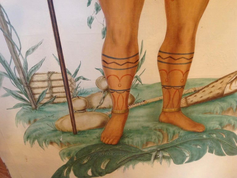 Life-Size Painting of a North Florida Native American Tribesman For Sale 5