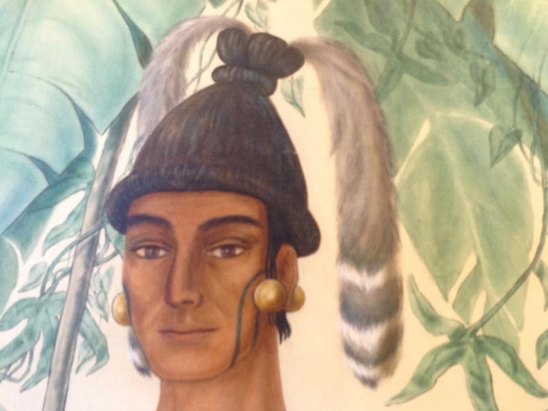 Life-Size Painting of a North Florida Native American Tribesman In Good Condition For Sale In West Palm Beach, FL