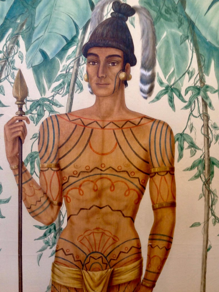 20th Century Life-Size Painting of a North Florida Native American Tribesman For Sale