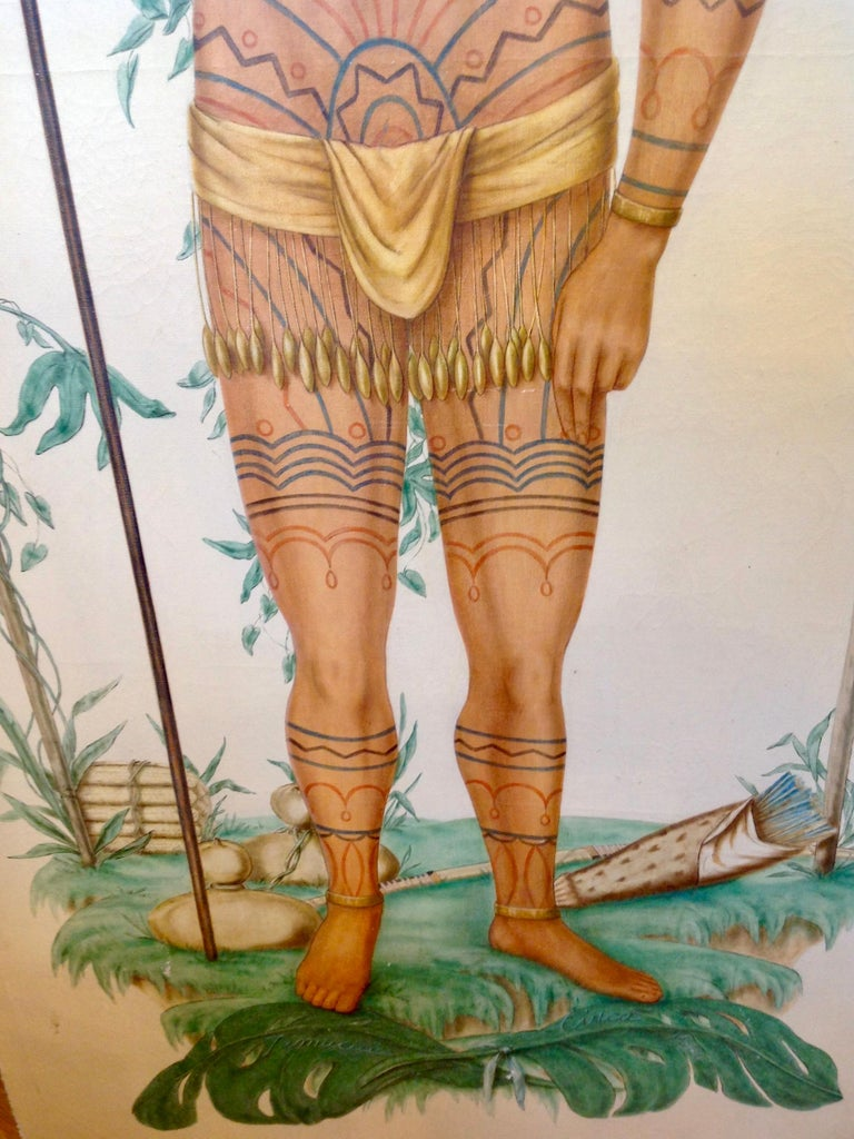 Canvas Life-Size Painting of a North Florida Native American Tribesman For Sale