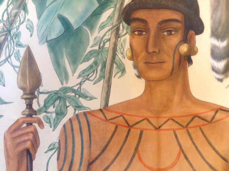 Life-Size Painting of a North Florida Native American Tribesman For Sale 2