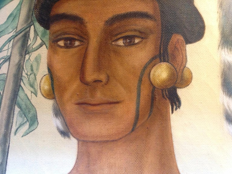 Life-Size Painting of a North Florida Native American Tribesman For Sale 3