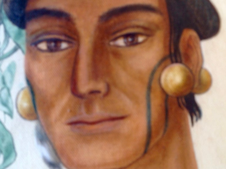 Life-Size Painting of a North Florida Native American Tribesman For Sale 4