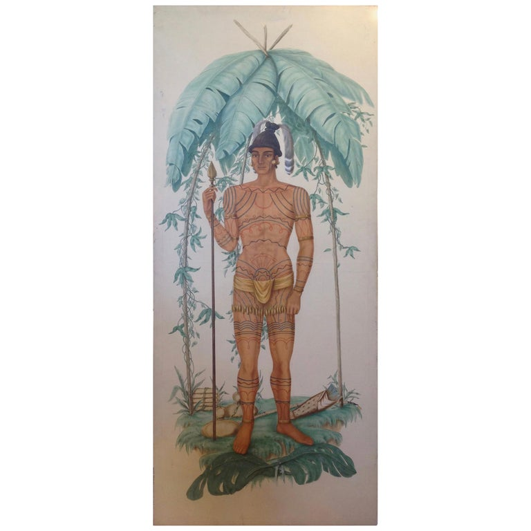 Life-Size Painting of a North Florida Native American Tribesman For Sale