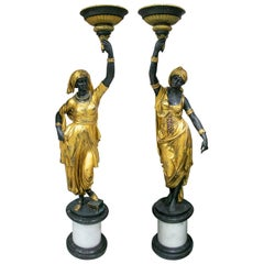 Life-Size Pair of Gilt Bronze Female Statue Torcheré Standing Lamps on Base