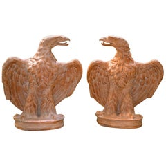 Pair of  Italian Terracotta Eagles After a 1 st Century AD Roman Marble Original