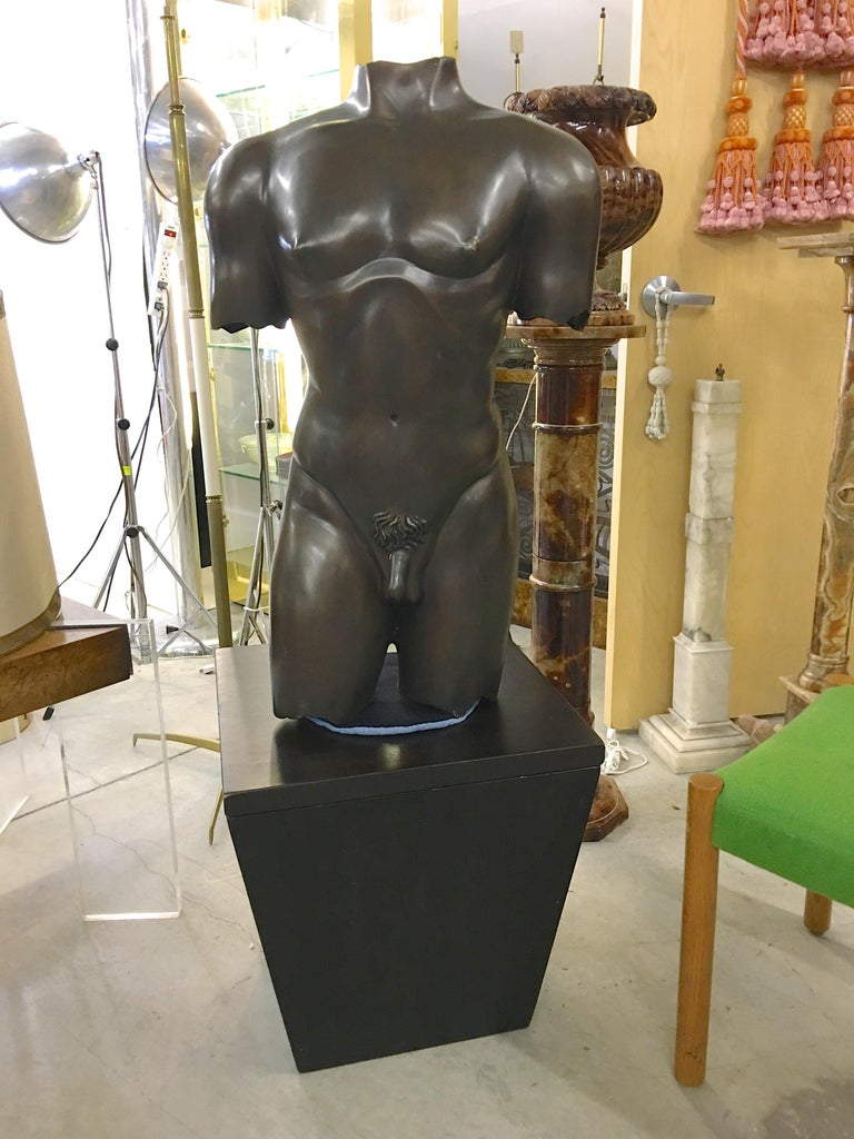 Life-Size Patinated Bronze Male Nude Torso Sculpture For Sale 6