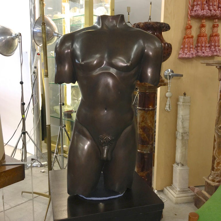 Life-Size Patinated Bronze Male Nude Torso Sculpture For Sale 7