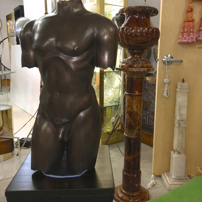 Life-Size Patinated Bronze Male Nude Torso Sculpture For Sale 8