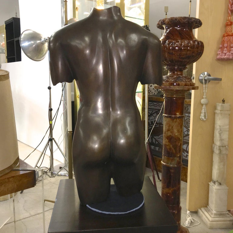 Life-Size Patinated Bronze Male Nude Torso Sculpture For Sale 9
