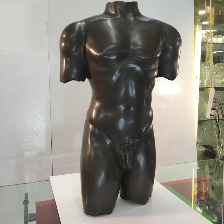Near life-size nude male torso sculpture cast in polished bronze with rich dark patina. Artist unknown. For scale, he'd wear a 42R.