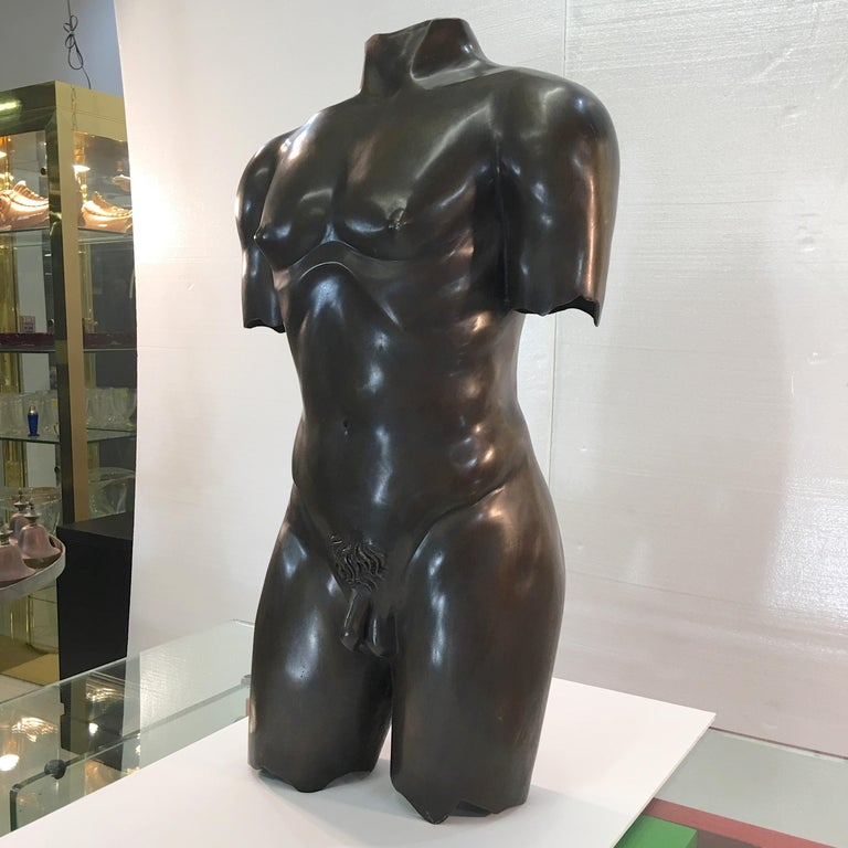 Modern Life-Size Patinated Bronze Male Nude Torso Sculpture For Sale