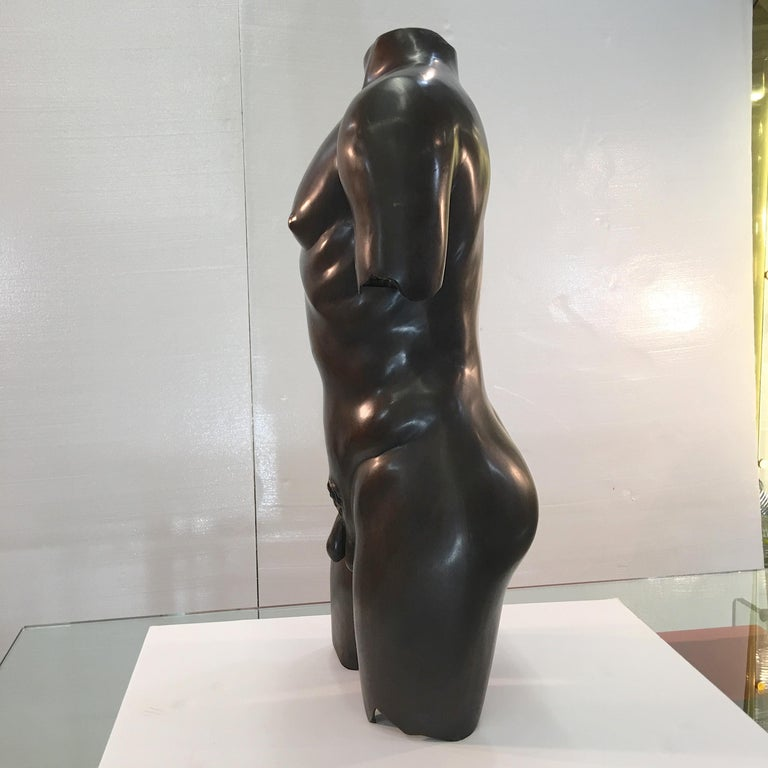 American Life-Size Patinated Bronze Male Nude Torso Sculpture For Sale