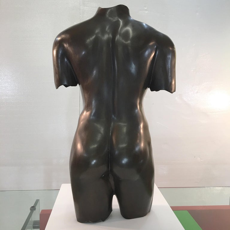 Life-Size Patinated Bronze Male Nude Torso Sculpture In Good Condition For Sale In Hingham, MA