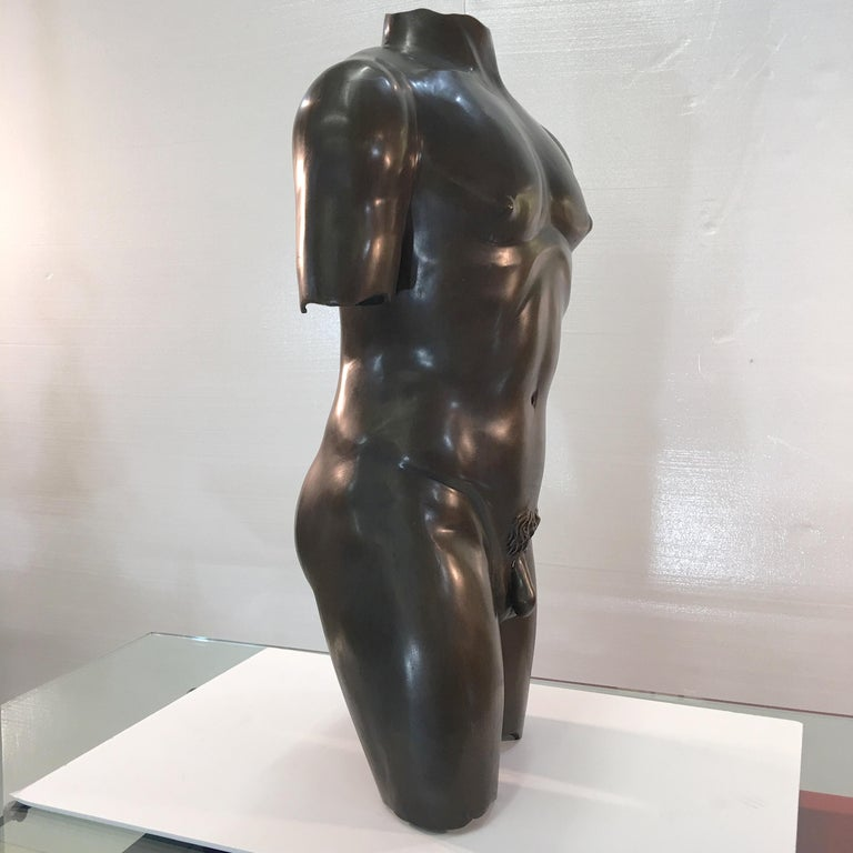 20th Century Life-Size Patinated Bronze Male Nude Torso Sculpture For Sale