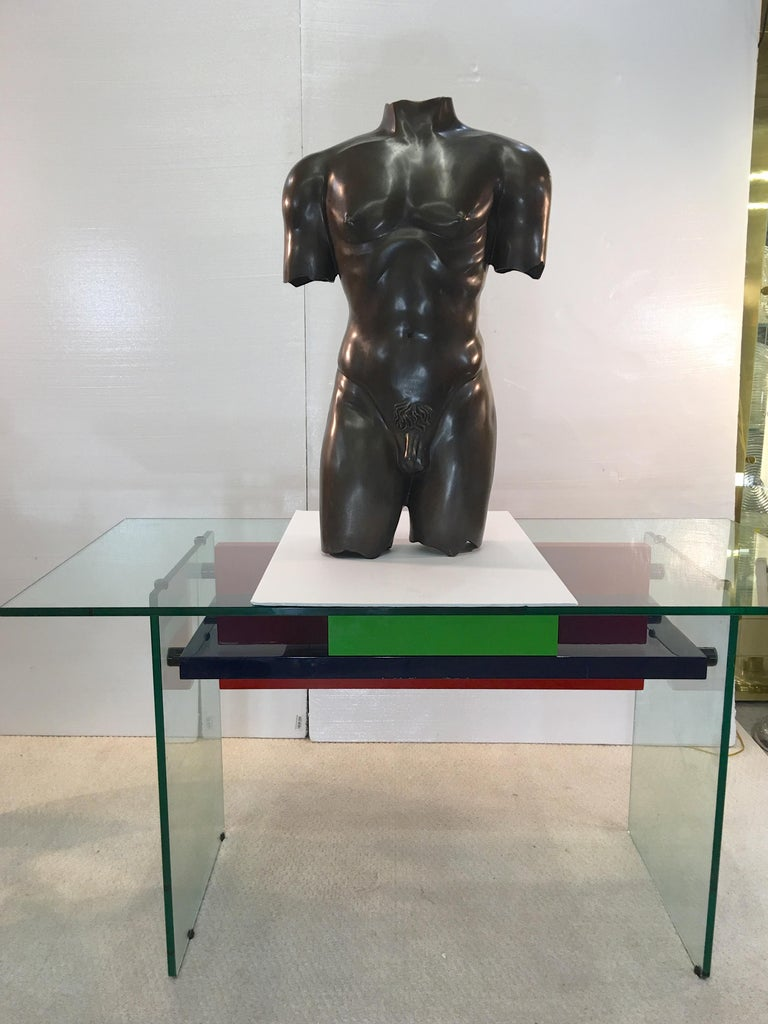 Life-Size Patinated Bronze Male Nude Torso Sculpture For Sale 1