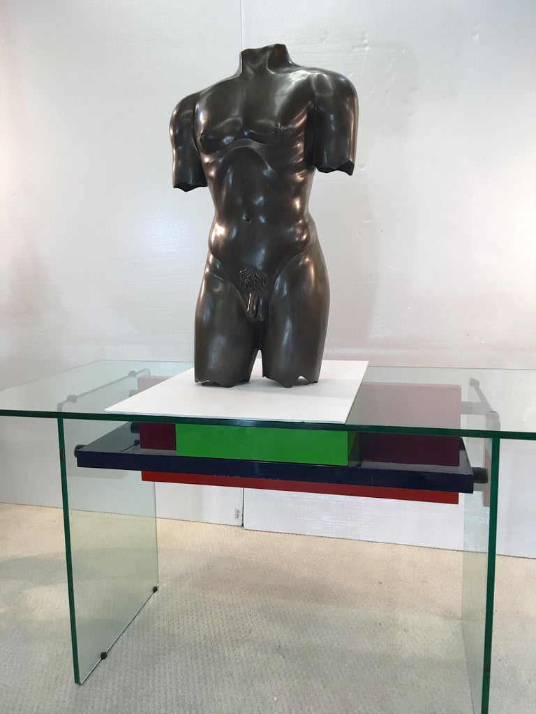 Life-Size Patinated Bronze Male Nude Torso Sculpture For Sale 2