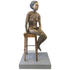 Life-Size Raku Ceramic Female Sculpture by Eva Stettner
