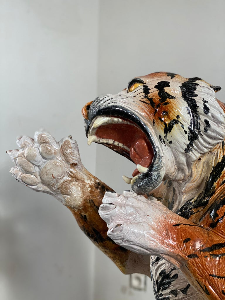 Life Size Tiger Sculpture Ceramic, Italy, 1970s For Sale 3