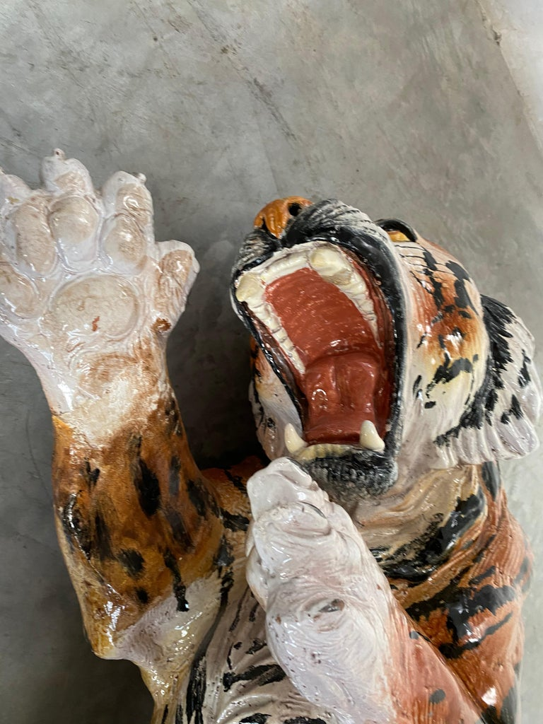 Life Size Tiger Sculpture Ceramic, Italy, 1970s For Sale 9