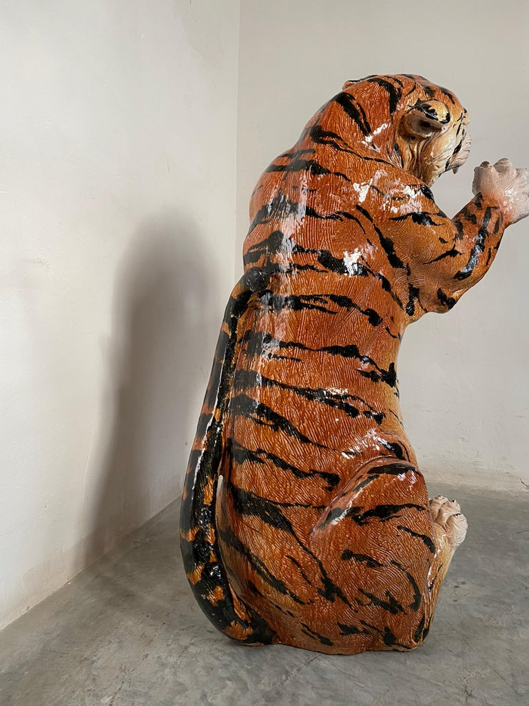 Italian Life Size Tiger Sculpture Ceramic, Italy, 1970s For Sale