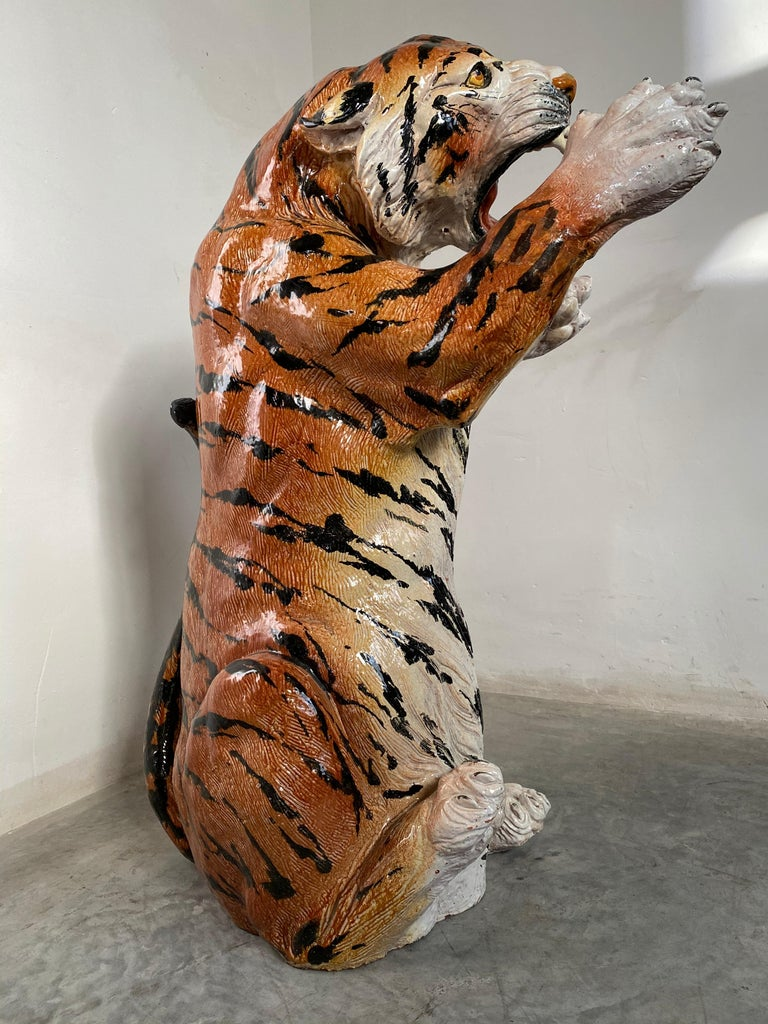 Molded Life Size Tiger Sculpture Ceramic, Italy, 1970s For Sale