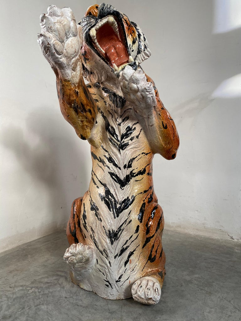 Life Size Tiger Sculpture Ceramic, Italy, 1970s In Fair Condition For Sale In Antwerp, BE