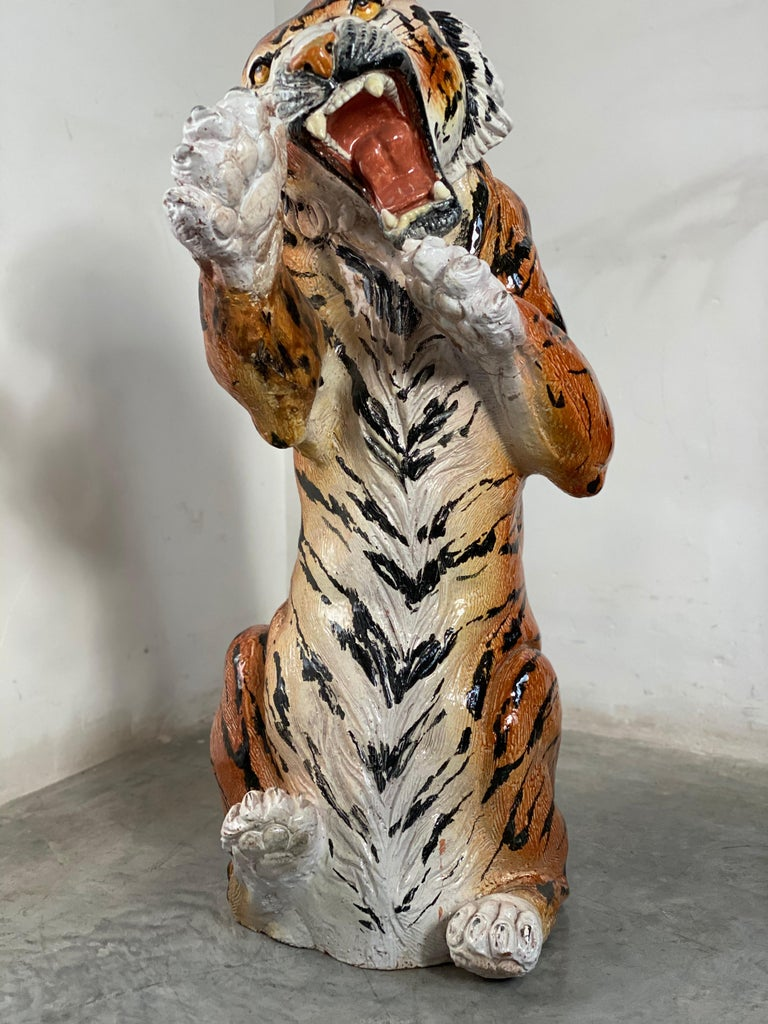 Late 20th Century Life Size Tiger Sculpture Ceramic, Italy, 1970s For Sale