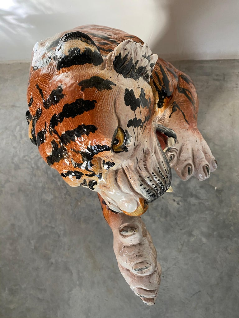 Life Size Tiger Sculpture Ceramic, Italy, 1970s For Sale 2