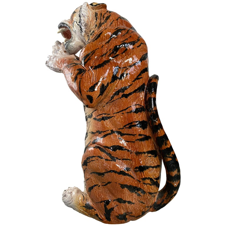 Life Size Tiger Sculpture Ceramic, Italy, 1970s For Sale