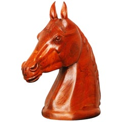 Life-Size Wooden Carved Horses Head