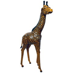 Life-Size Young Adult Leather Giraffe Floor Sculpture