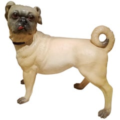 Life-Sized Austrian Pottery Figure of a Pug, circa 1860-1880