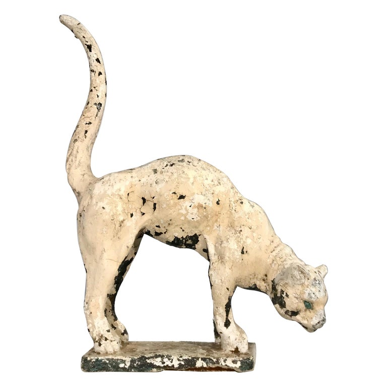 Life-Sized Belgian Cast Stone Cat Poised to Pounce, circa 1920 For Sale