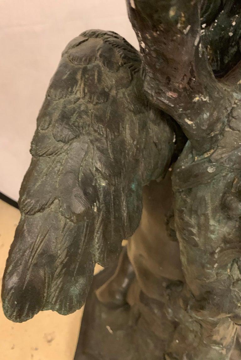 Life-Sized Bronze Cherub Kneeling Figure Holding Fruit Basket For Sale 10