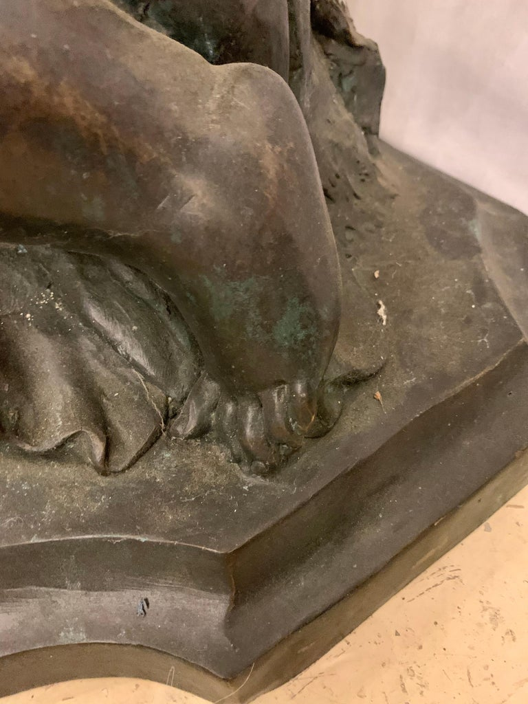 Life-Sized Bronze Cherub Kneeling Figure Holding Fruit Basket For Sale 4