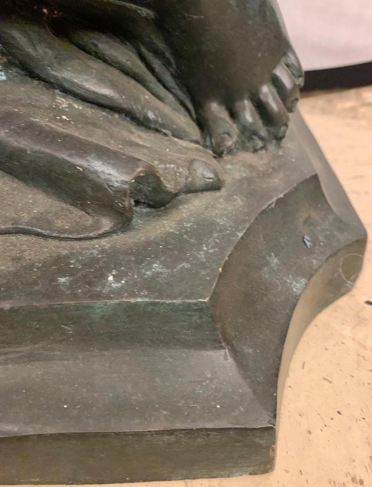 Life-Sized Bronze Cherub Kneeling Figure Holding Fruit Basket For Sale 5