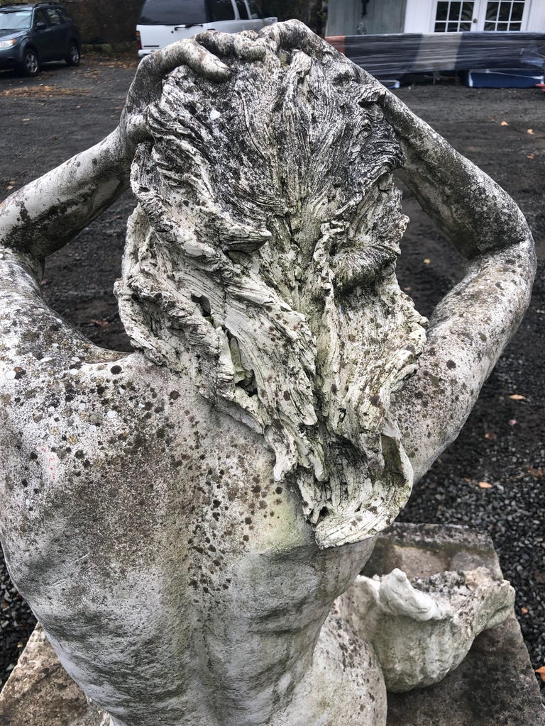 Life-Sized English Cast Stone Statue of a Mermaid Atop a Carved Stone Base For Sale 8