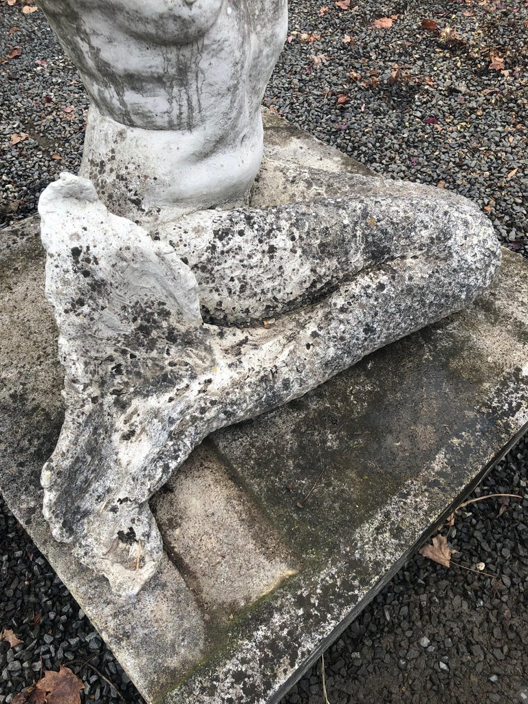 Life-Sized English Cast Stone Statue of a Mermaid Atop a Carved Stone Base For Sale 10