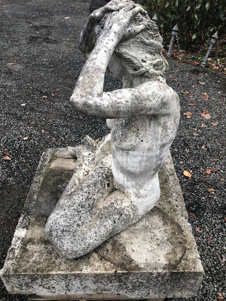 Hand-Carved Life-Sized English Cast Stone Statue of a Mermaid Atop a Carved Stone Base For Sale