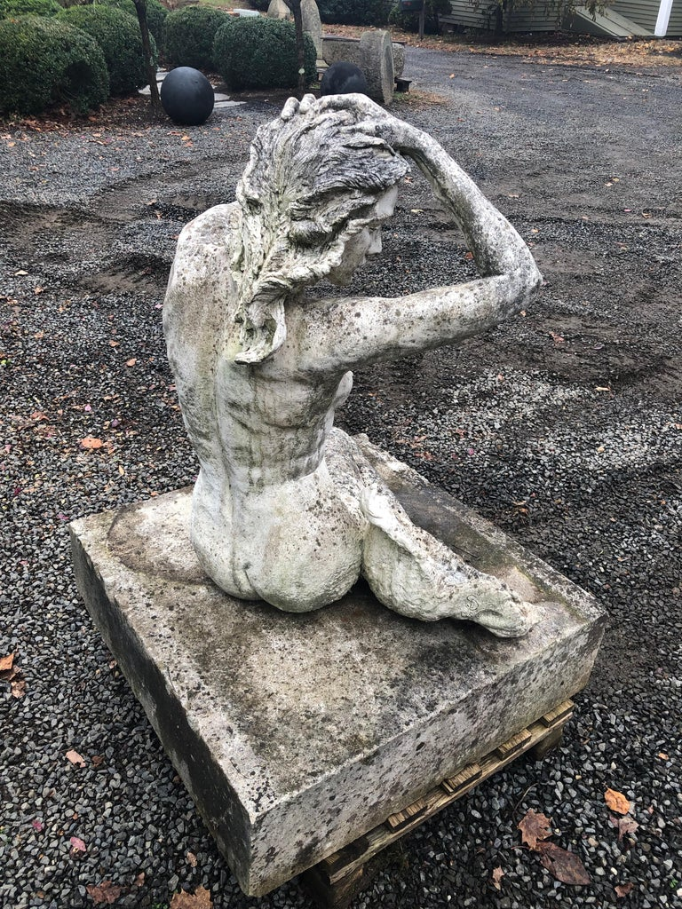 Limestone Life-Sized English Cast Stone Statue of a Mermaid Atop a Carved Stone Base For Sale