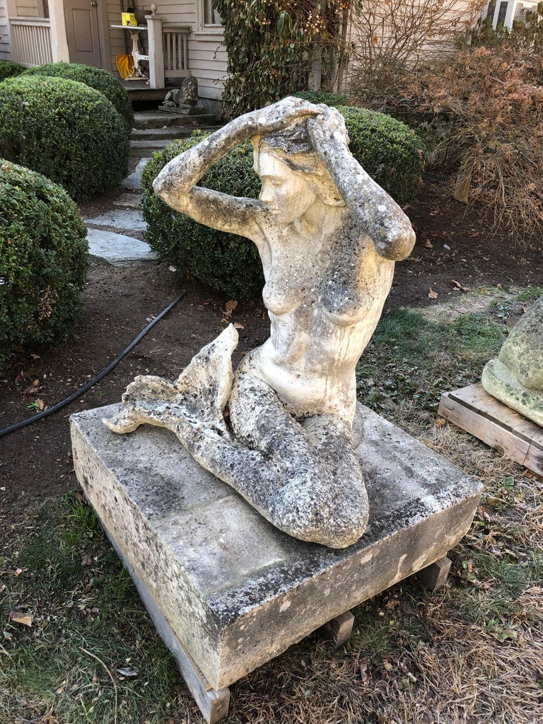 Life-Sized English Cast Stone Statue of a Mermaid Atop a Carved Stone Base For Sale 1