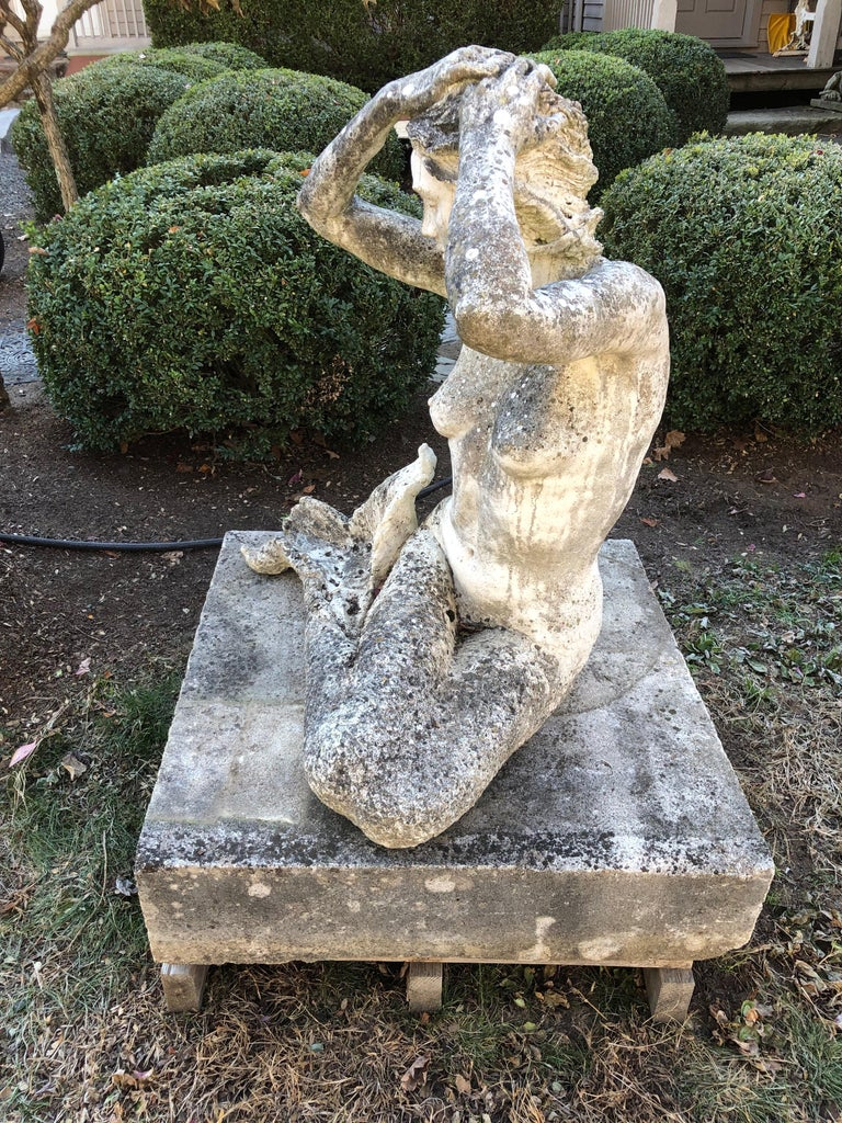 Life-Sized English Cast Stone Statue of a Mermaid Atop a Carved Stone Base For Sale 2