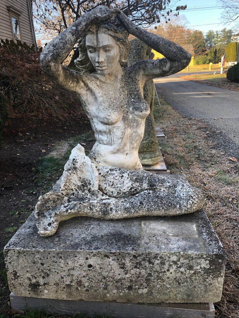 Life-Sized English Cast Stone Statue of a Mermaid Atop a Carved Stone Base For Sale 3